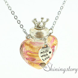 heart glitter with lines diffuser pendants wholesale perfume necklace aromatherapy pendant necklace vial lampwork glass essential oil neckla