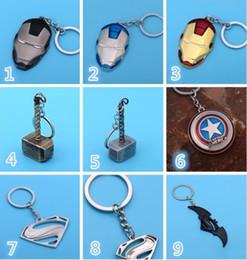 New The Avengers Marvel Character Captain America Thor Hammers Iron Man Batman Mask KeyChain Keyrings Key Chain Toys