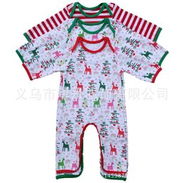 Infant Christmas Pajamas Rompers infant Personalized Spring Autumn romper Baby girl boy Deer Christmas tree print Gown 4styles 6size