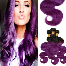 cheap Two Purple Ombre Weave Brazilian Virgin Body Wave Black and Purple Human Hair Extensions Ombre Remy Weft 4 bundle deals freeship