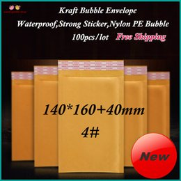 2017 burbuja de papel kraft Al por mayor (100pcs / lot) 140x160 + 40mm Kraft burbujea sobre completado Mailer, Courier bolsa de papel con la etiqueta engomada fuerte y gruesa Burbujas SGKB4 # burbuja de papel kraft limpiar