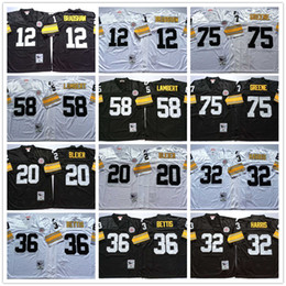 Wholesale Throwback Terry Bradshaw Rocky Bleier Franco Harris Jerome Bettis Jack Lambert Joe Greene White Black Home Away Jerseys