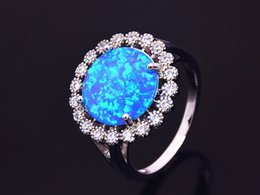 Wholesale & Retail Fashion Jewelry Beautiful Blue Pink Whiter Fire Opal Stone Silver Plated Ring For Women RAT003