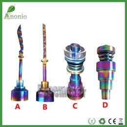 Colorful Glass Quartz Nails Rainbow Domeless Titanium Nails set 6 in 1 10mm 14mm 18mm Female Male Carb Cap Rainbow Ti Nail dabber