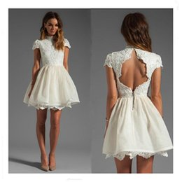 High Neck Short Capped Sleeves open back prom dress Vintage with Appliques white lace party dresses