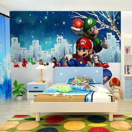 Wholesale 3D natural non woven factory direct large Super Mario boy cartoon characters children children s cinema room decor mural wallpaper shipping