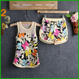 Wholesale 2016 top big selling baby girls Mickey Mouse sleeveless t shirt tops short pants summer casual children outfits clothing sets