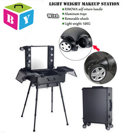 Wholesale aluminum frame makeup station cosmetic salon hairdresser vanity beauty train case with light bulbs mirror legs wheels