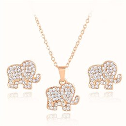 Wholesale New K Gold Plated Crystal Lovely Elephant Pendant Necklace Earrings Bridal Jewelry Set Party Luxury Jewellery for Women