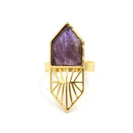 2016 New Charm Wholesale Quartz Onyx etc Different Natural Stone Adjustable Rings Accessories Gold Plated Fashion Jewelry 10Pcs