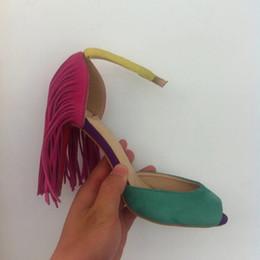 2016 red bottom new peep toe fashion high heels sexy tassels women shoes 35-40