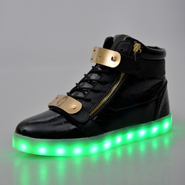 Wholesale Led Flash For Adults - LED Luminous Women & Men high top Sneakers LED Shoes For Adults USB Charging flash Lights Shoes Black White Shoes