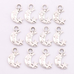 Wholesale New MIC Tibetan Silver Moon and Star Spacer Charm Beads Pendants Alloy Handmade Jewelry DIY x11mm L198
