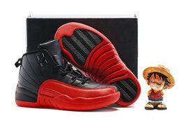 Vuelos niños de 12 XII atlético de los zapatos Retro Boys y muchachas negro / rojo / Juego de la gripe zapatillas de baloncesto de los niños nuevo en caja libre de Shiping boys games kids on sale desde niños juegos niños proveedores