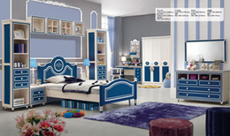 Wholesale Brand New Youth kids Teenage Children Soild Oak Wood Princess Blue Oak MDF Kids Bedroom Furniture Set