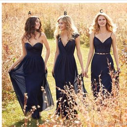 Wholesale Sleeveless Wedding Dresses Pictures - Navy Blue Cheap Long Bridesmaid Dresses 2016 New Arrival Lace Chiffon A Line Boho Maid of Honor Gowns Formal Wedding Party Gowns Custom