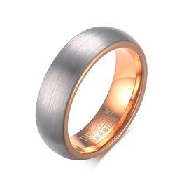 Acabado mate en Línea-6 mm de carburo de tungsteno de oro rosa de plata cepillado anillos de la promesa final de Matt