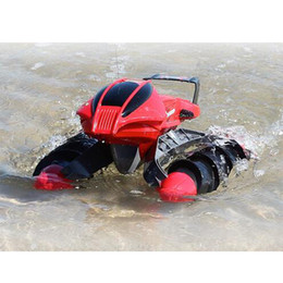 Wholesale Electric Boats RC Car Toy thread Push Beach Amphibious Boat Remote Radio Control Kids Cars Toy Stunt Cars Toys