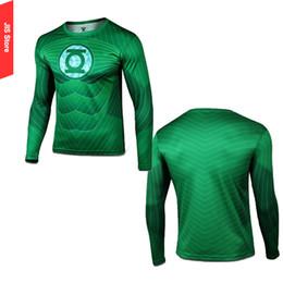 Descuento camiseta para correr verde Hombres-Venta al por mayor de la manera de Marvel cómics de superhéroes informal de manga larga camiseta de la linterna verde secado rápido Camiseta gimnasio de Crossfit Running