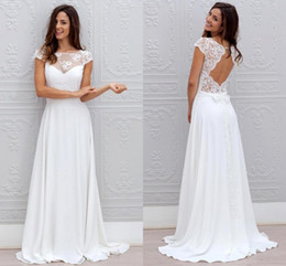 Bohemian White Wedding Dresses Lace Chiffon Open Back With Cap Sleeves Sheer Neck Sweep Train Cheap Beach Bridal Wedding Gowns 2019