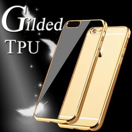 Wholesale Electroplating Gilded Soft TPU Clear Slim Plating Cover Case For iPhone Plus S SE S Samsung Samsung Note S7 S6 Edge J7 MOQ