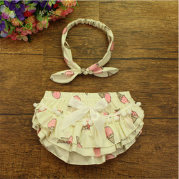 Wholesale Ice Cream Baby Bloomers Ruffled Cotton Baby Shorts Pom Kids Clothes Baby Photo prop Outfit Newborn Diaper Cover Summer Cotton