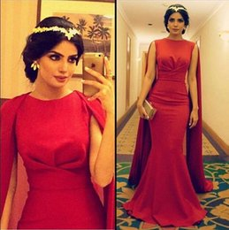 Muslim Evening Dresses Wear 2016 New Cheap Arabic Jewel Neck Red Satin With Cape Mermaid Sweep Train Celebrity Party Dress Prom Gowns