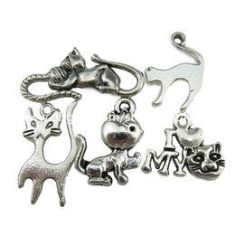 Fille chat cru à vendre-5PCS MIX Vintage Argent Girl animal animal de coeur Love Pet Ball Jouer pendentif