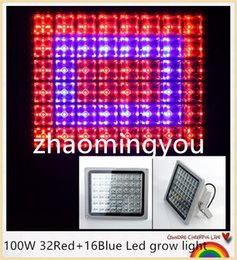 YON Free shipping High power 6pcs Full Spectrum 100W 32Red+16Blue Led grow light Hydroponic System Aquarium led lighting