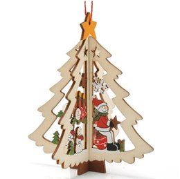 Wholesale NEW Christmas Decorations Christmas Tree Carved Wooden Windows Pentacle Pendant Bell Charm Strap Best gift cc778