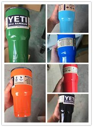 Wholesale Colorful OZ Yeti Rambler Coolers Tumbler Stainless Steel Cup Coffee Mug w Lid Drop shipping