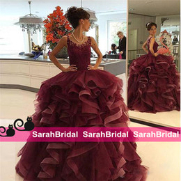 2019 Burgundy Ball Prom Gowns Beautiful Pretty Quinceanera Dresses for Mexican Sweet 16 Young Juniors Girls Debutante Dance Formal Wear Sale