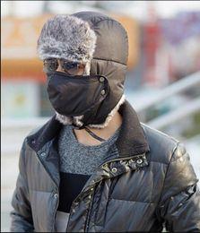 2017 sombreros trampero Al por mayor-Nuevo Unisex Hombre Invierno Trapper aviador Trooper con orejeras gorra de esquí caliente con la máscara de bombardero Kenmont aviador Trapper sombrero gorra de esquí Rusia sombreros trampero outlet