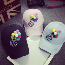 Wholesale Three dimensional embroidery small fresh color in spring and summer female hot air balloon curved eaves baseball cap casual hat shading