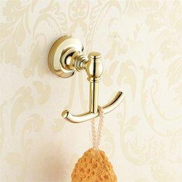 Wholesale European copper gold bathroom hanger Bathroom Towel Hook Hook double robe hook hook antique clothes