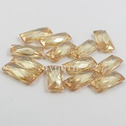 AAA 7x16mm cubic zirconia champagne double table checker cut loose rectangle gems