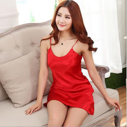 Wholesale-New 2016 Summer Sexy lingeire Ladies women Satin Lace Strappy Nightdress Nightie Nightgown Chemise