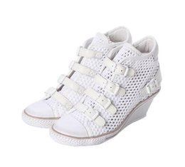 Ash Gossip Mesh Wedge Sneakers White Buckled Fashion Trainers On Hot Sale Tide Summer Casual Sport Shoes Size 34-40