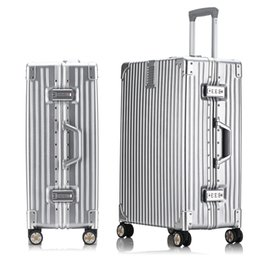 Wholesale 20inch Aluminum frame Drawbars PC luggage scratch resistant matte wrap angle vintage suitcase trolley bags valise travel case