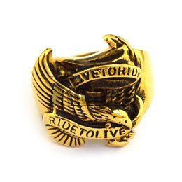 Yellow Gold Animal Ring Pating RIDE TO LIVE Eagle Ring Newest Design Animal For Motorcycle Biker