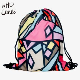 Wholesale Who Cares News Lattice Printing Men Gym Bags Mochila Feminina Travel Sport Brand Outing Drawstring Bag Women Backpack Wild Party