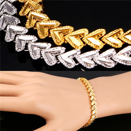 U7 Romantic Hearts Bracelet For Women Jewelry 18K Real Gold Platinum Plated Fashion Chain Bracelet Perfect Gift for Love