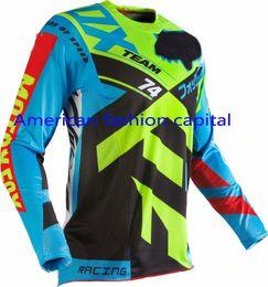 Wholesale Adult Divizion Blue Yellow Jersey Motocross Dirtbike MTB ATV Mountain Bike T shirt Downhill Moto Jerseys