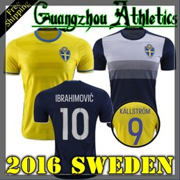 Wholesale 2016 Jersey Sweden Zlatan Ibrahimovic Sebastian Larsson Kim Kallstrom Berg Home Away Jersey Shirt