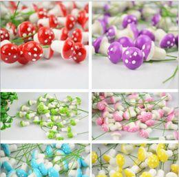 Wholesale Artificial Colorful Mini Mushrooms Fairy Garden Miniature Gnomes Moss Terrarium Decor Resin Crafts Bonsai Home Decor for DIY Miniatures
