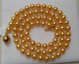 9-10MM SOUTH SEA ROUND GOLD PEARL NECKLACE 20 INCH 14K GOLD CLASP