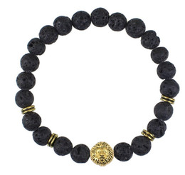 New Design Antique Gold Silver Leo Lion Head Buddha Bracelets Fashion Black Lava Stone Beaded Bracelet For Men and Women Best Friend Gifts