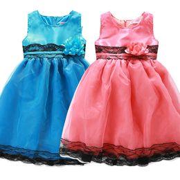PrettyBaby 2016 summer girls tutu dresses 2colors pink blue 3Dflower belt sleeveless party wedding dress free shipping