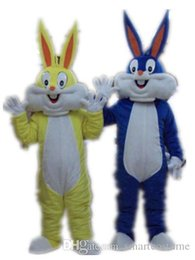 Wholesale 100 real picture bugs bunny mascot bunny costume an adult The yellow and blue rabbit mascot costume