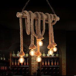 Wholesale Vintage Rope Bamboo Pendant Lights Loft Creative Personality DIY Industrial Pendant Lamps Bar Light Fixture Luminiare hanging lamp